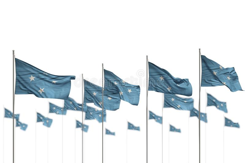 Pretty Micronesia isolated flags placed in row with selective focus and place for content - any holiday flag 3d illustration. Nice celebration flag 3d royalty free illustration