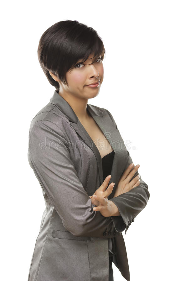 Download Pretty Mixed Race Young Adult With Funny Face Stock Photo - Image of isolated, caucasian: 25555918