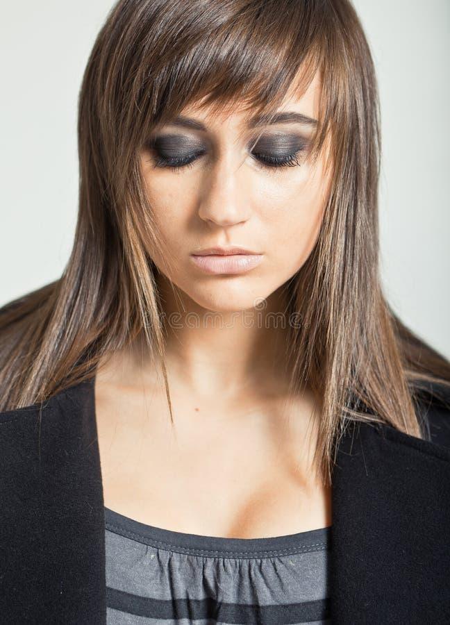 Download Pretty Model In A Black Coat Stock Photo - Image: 21415360