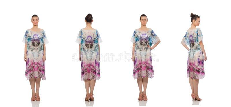 Pretty model in long elegant dress  on white royalty free stock images