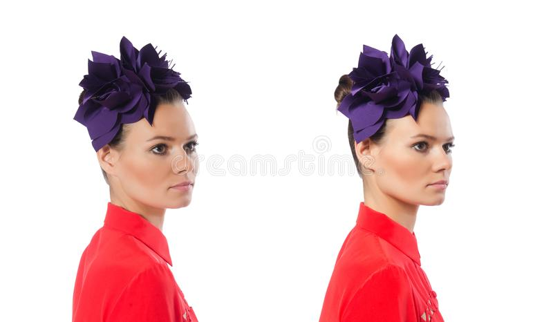 The pretty model with purple head accessory isolated on white stock image