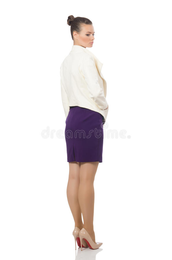 The pretty model wearing purple dress isolated on white stock photos
