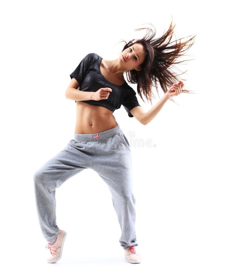 Pretty modern slim hip-hop style teenage girl stock photos