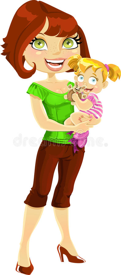 Download Pretty Mom With Daughter In Her Arms Stock Illustration - Image: 24669301