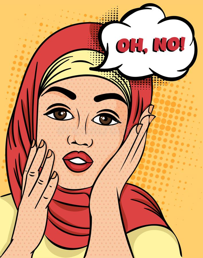 Pretty Muslim Woman in hijab exclaiming - Oh, No raising her hands to her cheeks with a concerned expression, colorful. Pop Art Vector illustration royalty free illustration