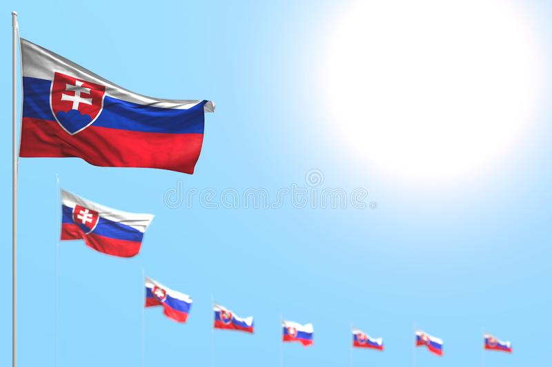 Pretty many Slovakia flags placed diagonal with soft focus and empty space for your text - any feast flag 3d illustration royalty free stock image