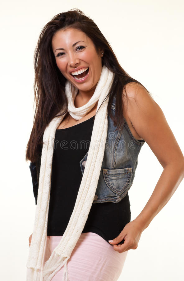 Pretty native american indian fashion woman stock photo