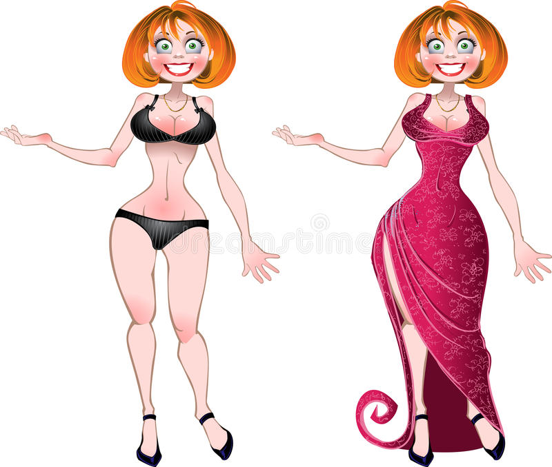 Pretty nude woman and in pink evening dress royalty free stock image