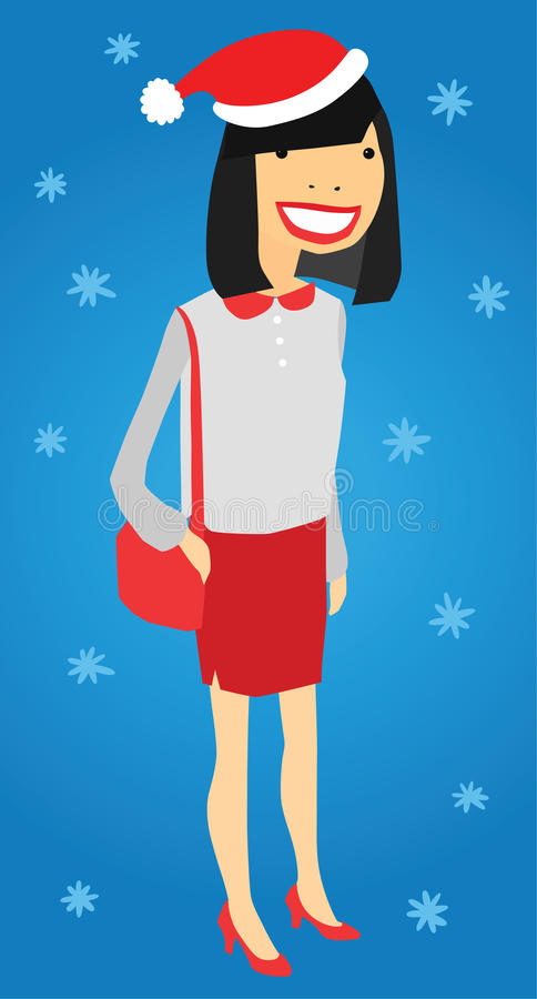Pretty Office Lady in Christmas Hat. On Blue Festive Snowflake Background royalty free illustration