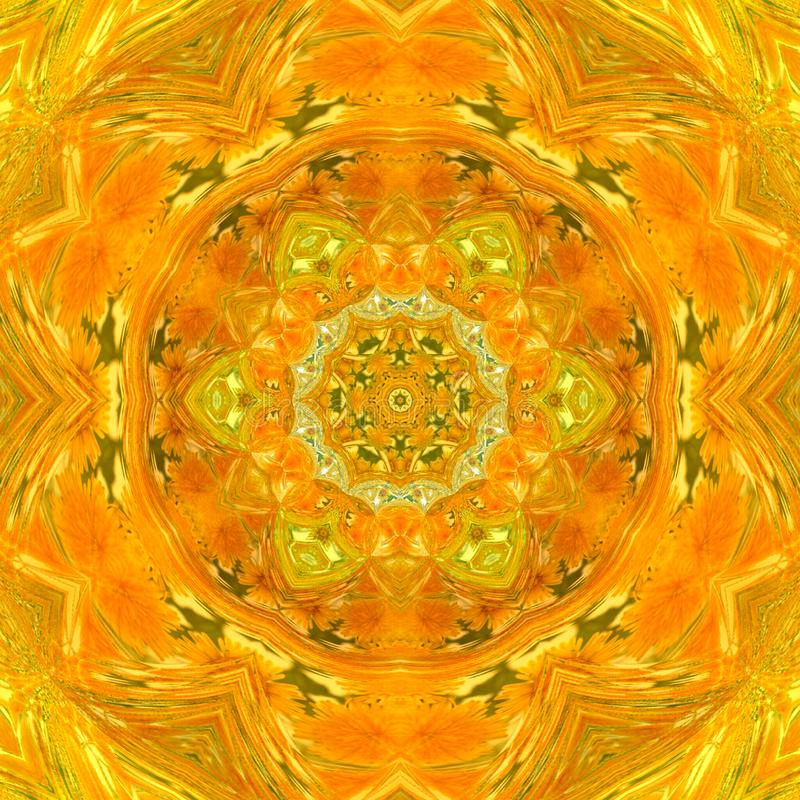 Pretty orange tile mandala vector illustration