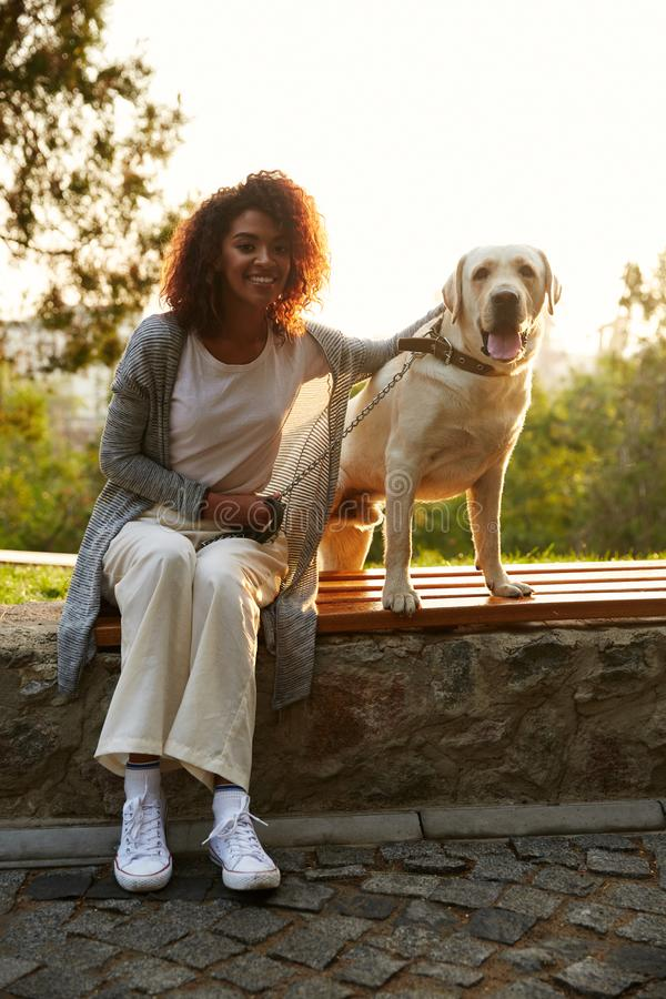 Pretty owner walking with her dog in the morning in park stock photos