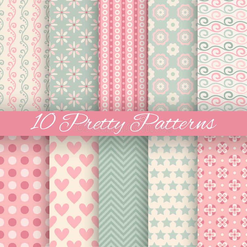 Free Pretty Pastel Vector Seamless Patterns (tiling, Stock Images - 45108004