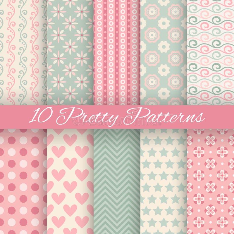 Pretty pastel vector seamless patterns (tiling, stock illustration
