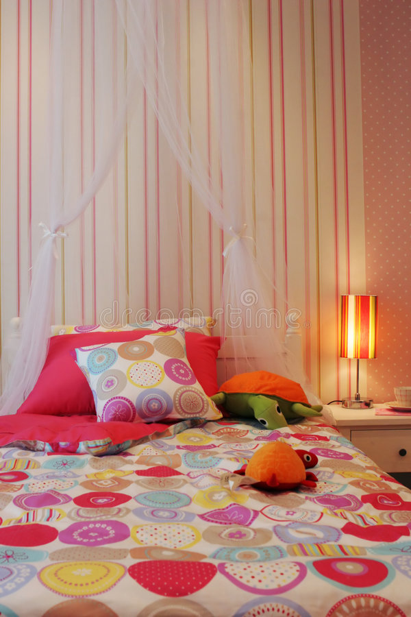 Pretty pink child's bedroom royalty free stock photos