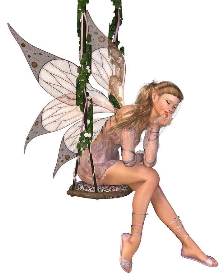 Download Pretty Pink Fairy Daydreaming On A Swing Stock Photos - Image: 25498393