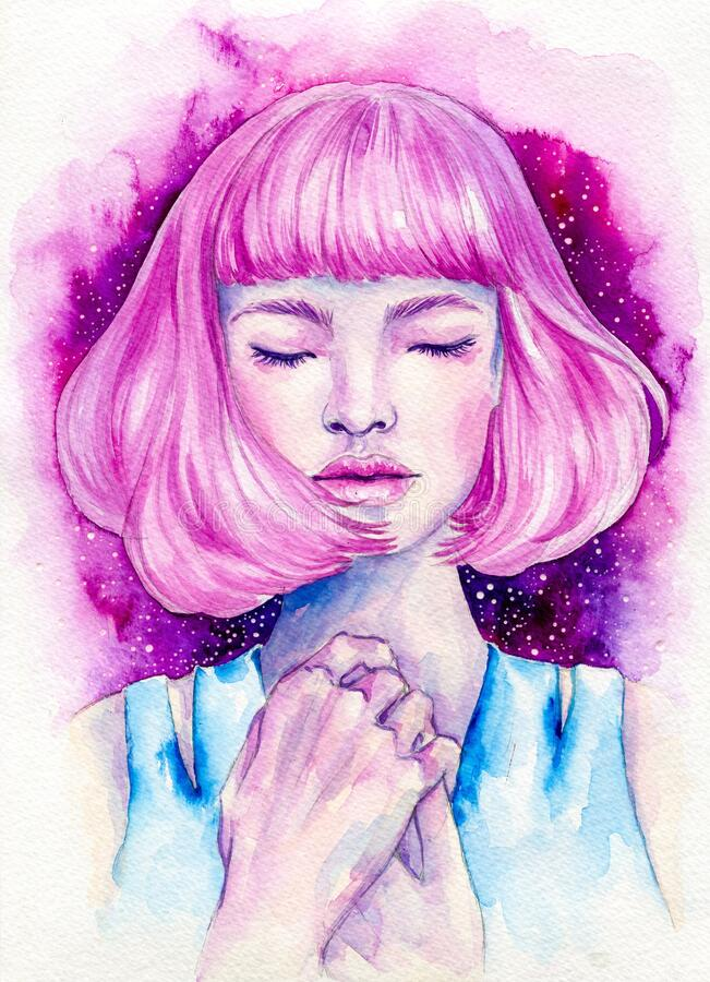Free Pretty Pink Haired Girl Hand Drawn Watercolor Illustration Stock Photography - 168938902