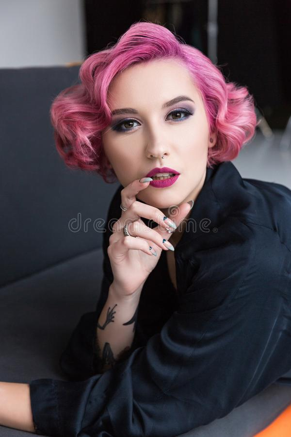 pretty pink haired pin up girl royalty free stock photo
