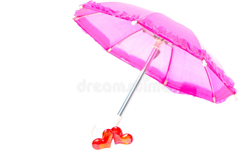 Download Pretty Pink Parasol With Two Hearts Stock Photo - Image: 28964822