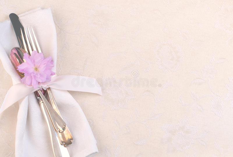 Pretty Place Setting With Fork, Knife, Spoon, Cherry Blossom On Cream  Tablecloth