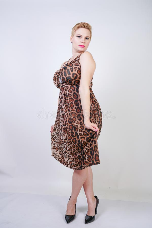 Pretty plus size young woman with short blonde hair wearing middle length  summer dress with animal leopard print. cute curvy woma stock image