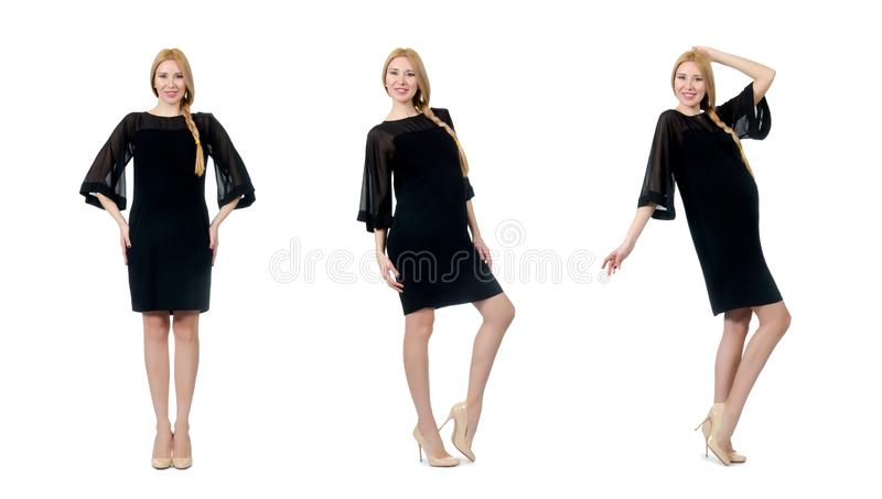 The pretty pregnant woman in black dress isolated on white stock photography