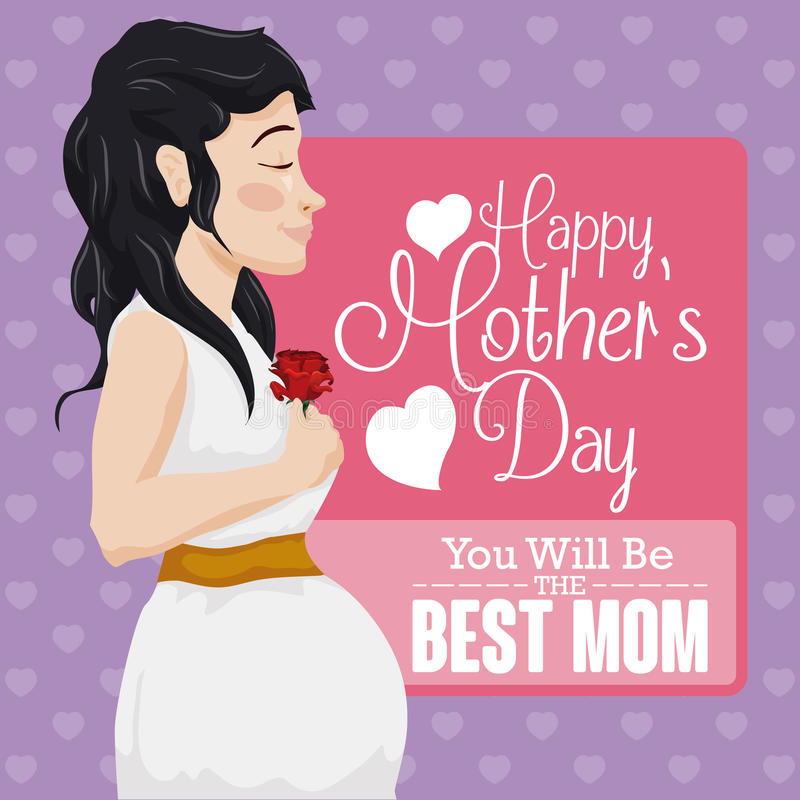 Pretty Pregnant Woman Celebrating Mother's Day, Vector Illustration stock images