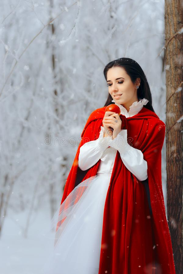 Beautiful Snow White Princess in Winter Fairy Tale Wonderland stock images
