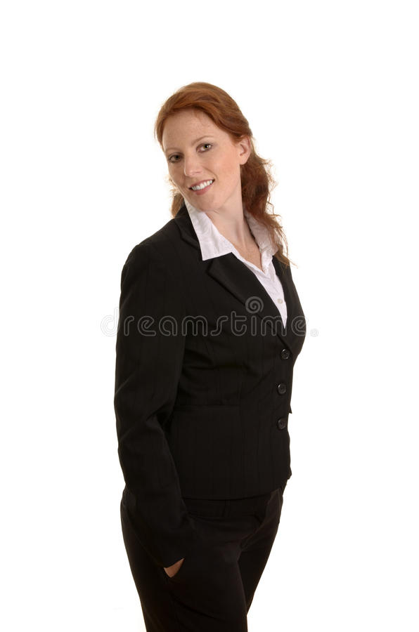 Pretty red-haired business smiling, Portrait stock image