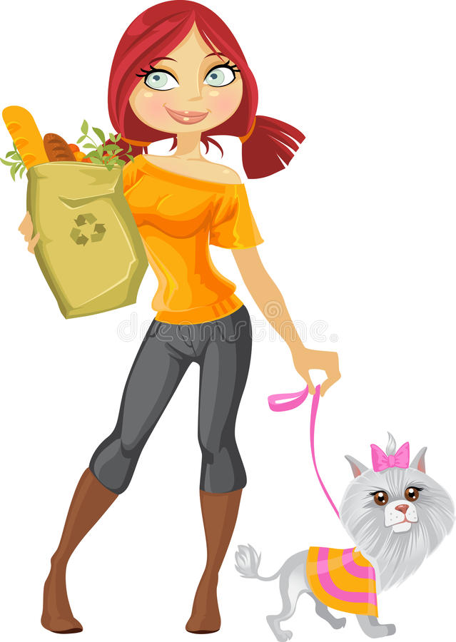 Pretty red haired girl with dog and health food vector illustration