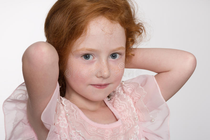 Pretty red haired girl stock photo
