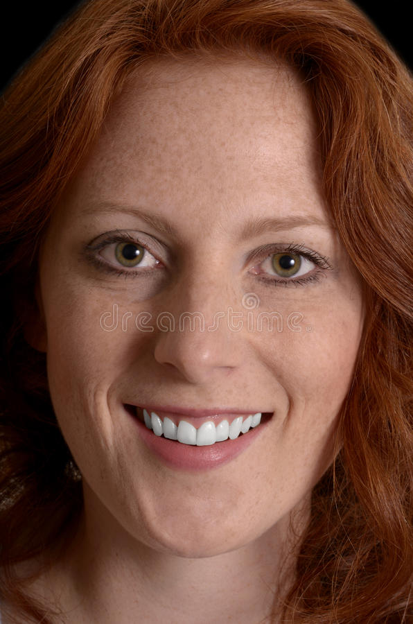 Pretty red-haired woman portrait, Closeup royalty free stock photos