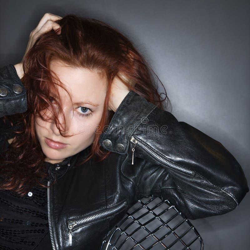 Pretty redhead woman. stock image