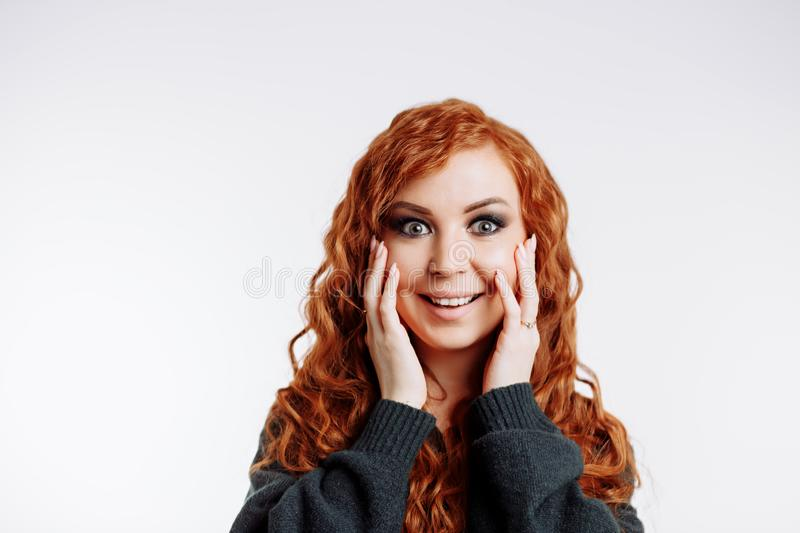 Of pretty redhead woman royalty free stock images