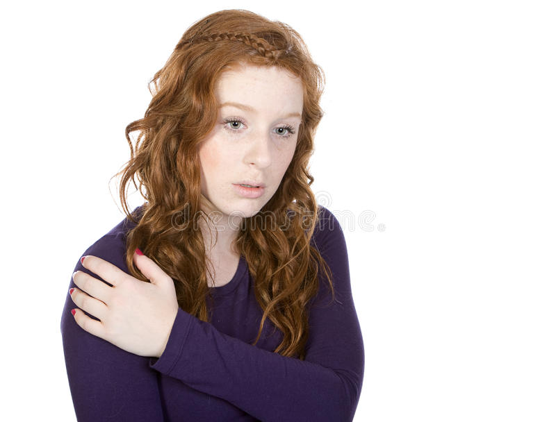 Download Pretty Redheaded Teen Looking Down Stock Image - Image: 9776667