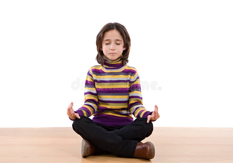 Pretty relaxed girl practicing yoga stock images