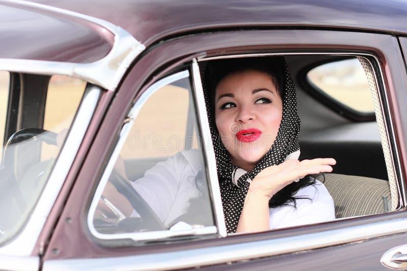 Pretty Retro Woman Waving Goodbye royalty free stock photos