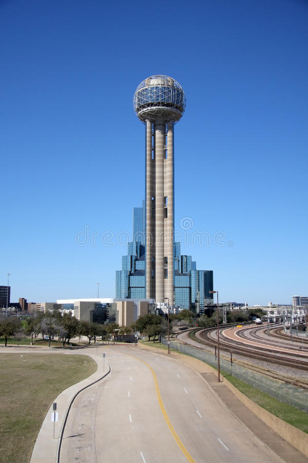 Pretty Reunion Tower. Reunion Tower of downtown Dallas, Texas stock image