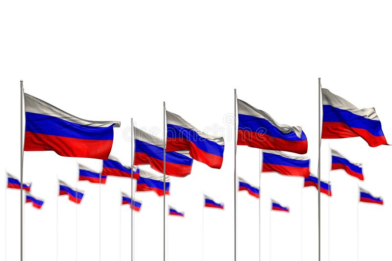 Pretty Russia isolated flags placed in row with selective focus and space for text - any occasion flag 3d illustration. Cute memorial day flag 3d illustration royalty free illustration