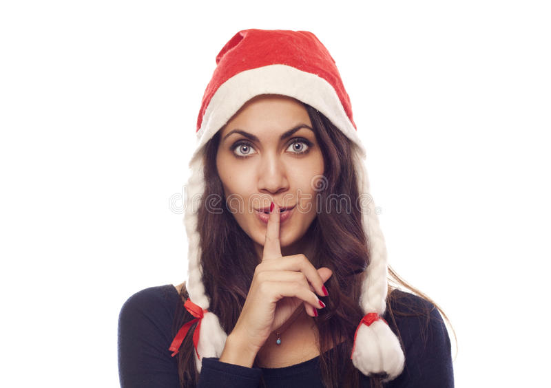 Download Pretty Santa Woman Saying Shh Stock Images - Image: 22218234