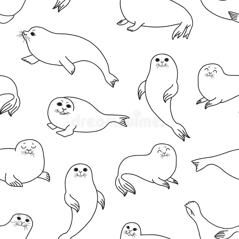 Free Pretty Seals Seamless Pattern. Vector Marine Background. Royalty Free Stock Image - 110559726