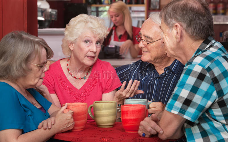 Pretty Senior Woman Talking with Friends stock image