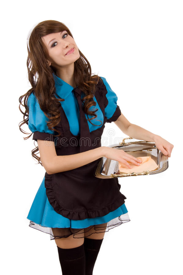 Download Pretty Servant Girl With Tray Royalty Free Stock Photos - Image: 22974678