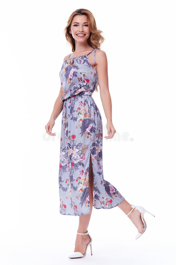 Pretty lady fashion model blond hair wear long silk dress o. Rganic catalog of clothes casual style for walk meeting white background beautiful woman summer royalty free stock images