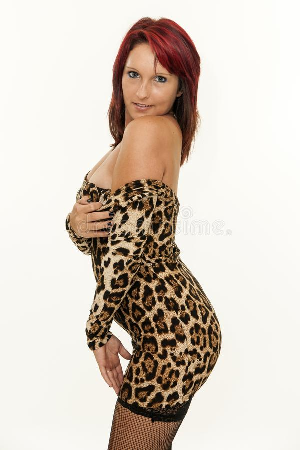 Pretty sexy young redhead woman royalty free stock photo