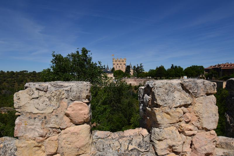 Pretty Shot From The Walls Of Castle Keep Of Segovia. Architecture History Travel. royalty free stock photography