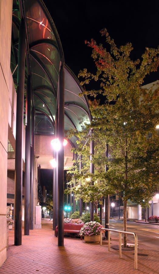 Pretty Sidewalk at Night stock photography