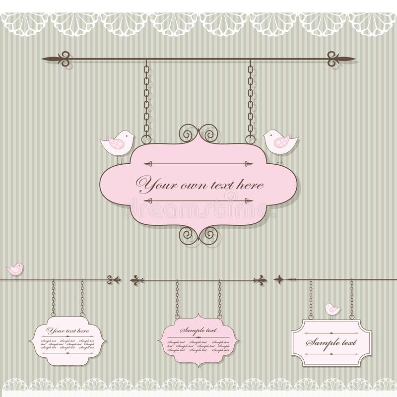 Pretty signboard set with lace and birds. Vector vector illustration
