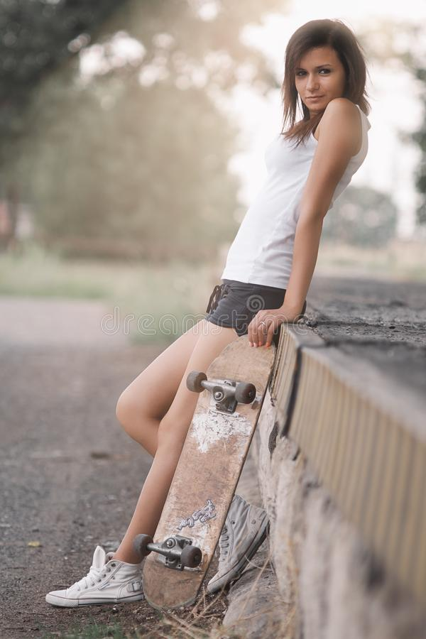 Pretty skater girl royalty free stock images
