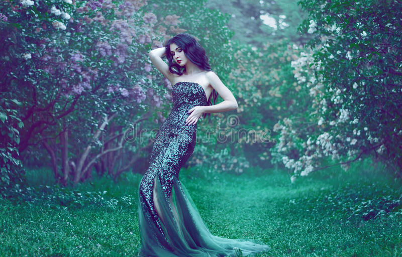 Pretty slim girl with dark hair in a long emerald green dress wi royalty free stock photo