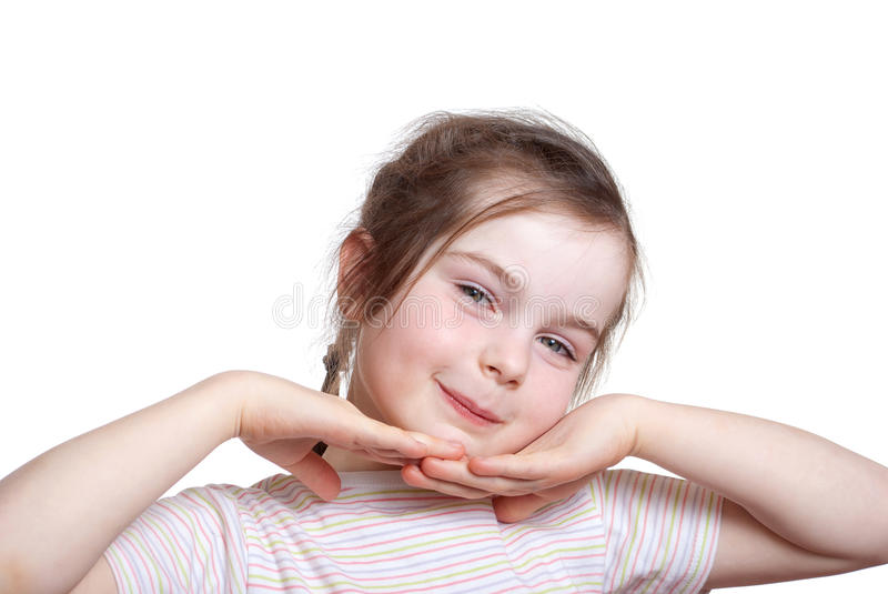 Pretty smile child. On osolated white fon royalty free stock images